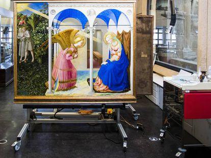 'La Anunciación', de Fra Angelico, tras su restauración, este miércoles en el Prado.