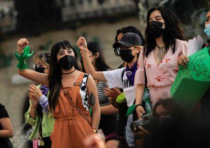 Una manifestación a favor del aborto, en Saltillo, este martes.