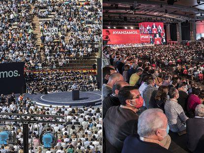 Cónclaves del PP y el PSOE celebrados en octubre en Valencia.
