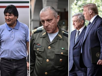 El expresidente de Bolivia Evo Morales, el general Salvador Cienfuegos y el presidente de México, Andrés Manuel López Obrador, junto al entonces mandatario de Estados Unidos, Donald Trump.