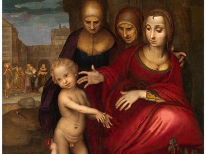 El cuadro 'Santa Ana, la Virgen, Santa Isabel, San Juan y Jesús niño', de Yáñez de la Almedina.