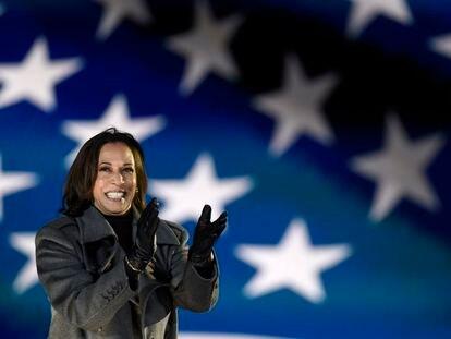 La vicepresidenta de Estados Unidos, Kamala Harris, el 2 de noviembre de 2020,  en Filadelfia, Pensilvania.