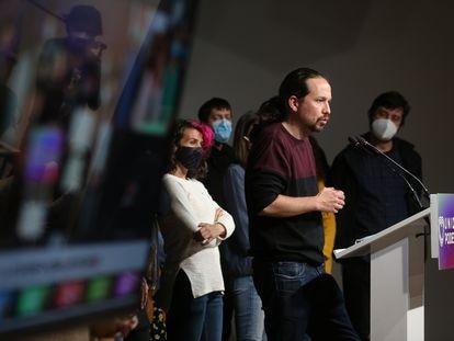 El candidato de Unidas Podemos a la presidencia de la Comunidad de Madrid, Pablo Iglesias, anuncia que deja la política en la noche electoral del 4-M.