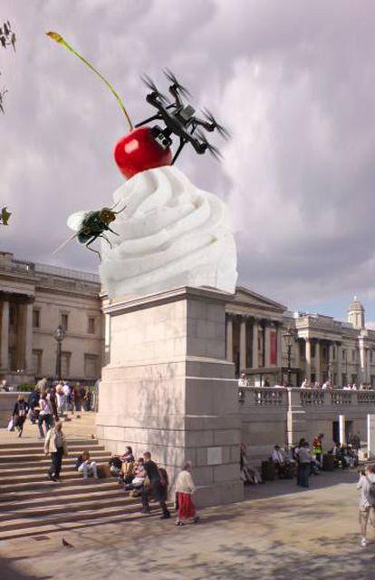 Recreación de 'The End' (2020), de Heather Phillipson, pendiente de inaugurarse en el cuarto plinto de Trafalgar Square, en Londres.
