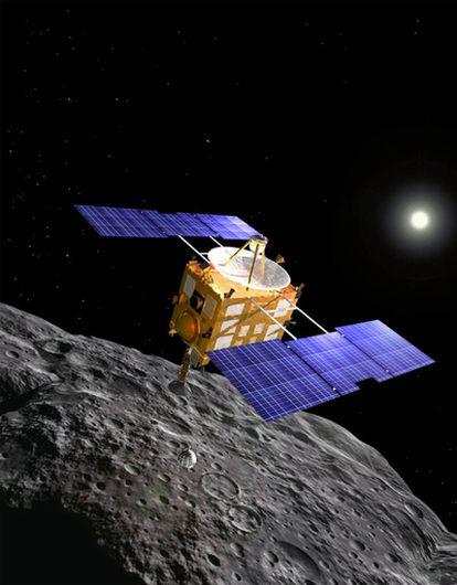Recreación artística de la sonda <i>Hayabusa.</i>