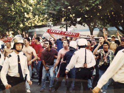 Ultras del Atlético de Madrid, en la temporada 93-94.