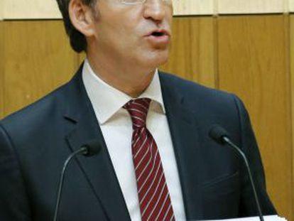 El presidente de la Xunta en funciones, Alberto Núñez Feijóo, pronuncia su discurso de investidura