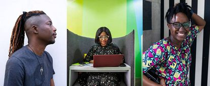 Ezra Olubi, Ijeoma Opara y Mohini Ufeli, cofundador y empleadas de Paystack, una 'fintech' de Lagos.
