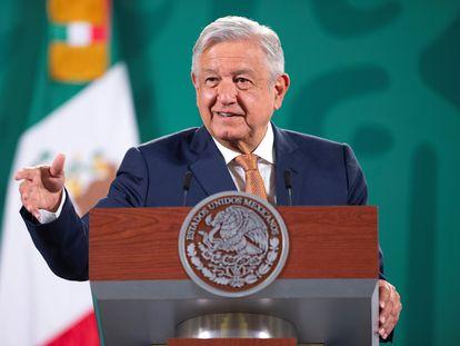 Andrés Manuel López Obrador, en su rueda de prensa este lunes en Palacio Nacional, en Ciudad de México.