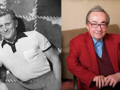 El actor Kirk Douglas (izquierda, en 1950) y el escritor y crítico literario George Steiner (en 2001).