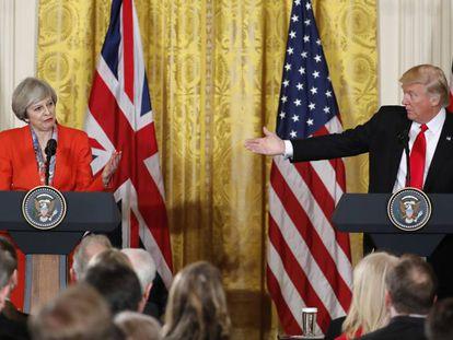 Trump y May, durante la comparecencia conjunta en la Casa Blanca.
