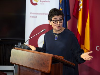 Arancha González Laya, este viernes en un acto de la Agencia Española de Cooperación Internacional para el Desarrollo (AECID).