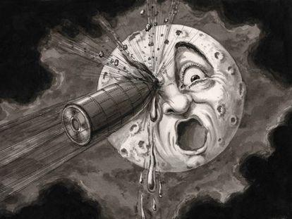 '¡De lleno en el ojo!' Una recomposición del fotograma de 'Viaje a la Luna'.