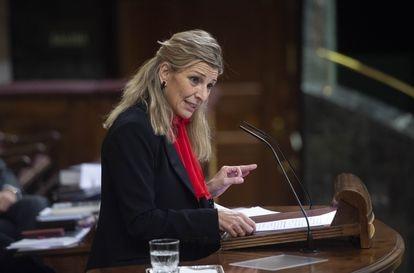 La ministra de Trabajo, Yolanda Díaz, en el Congreso de los Diputados este 24 de marzo.