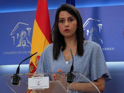 Inés Arrimadas, este miércoles en el Congreso de los Diputados (Madrid).