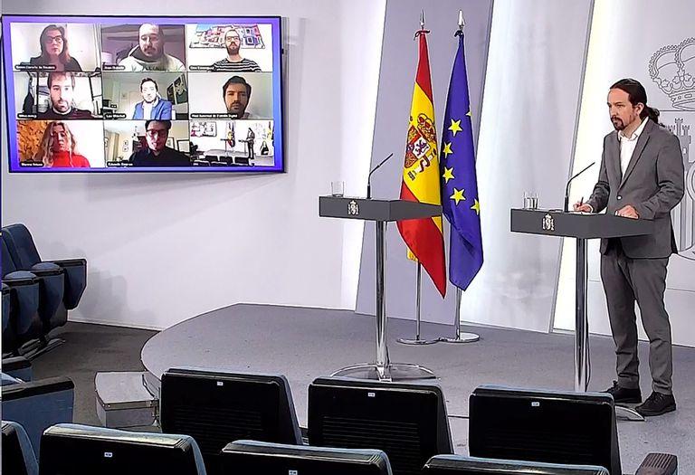 Pablo Iglesias, este jueves en rueda de prensa en La Moncloa.