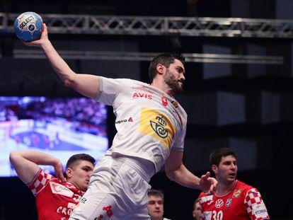 Raúl Entrerríos, contra Croacia en el Europeo 2020.