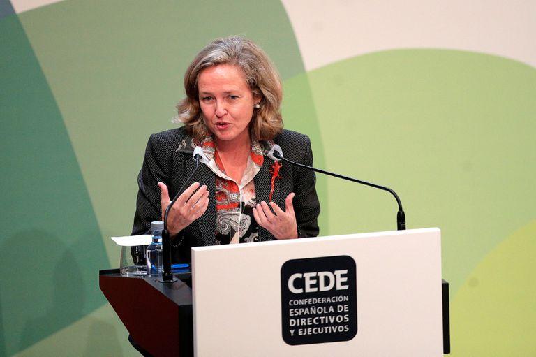 La vicepresidenta y ministra de Economía, Nadia Calviño, el 21 de octubre en Valencia, en el Congreso de Directivos.