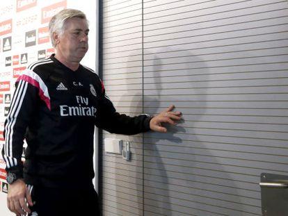 Ancelotti, ayer, tras la conferencia de prensa.