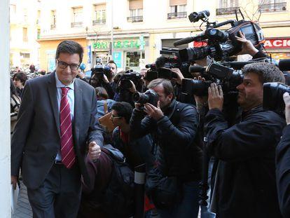 Óscar López, a su llegada a una reunión a la sede del PSOE en 2017.