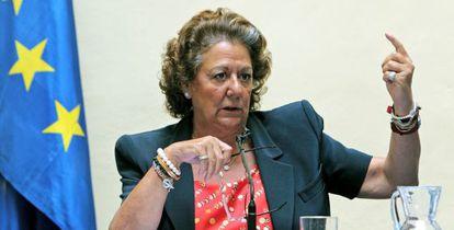 Rita Barberá, durante la rueda de prensa.