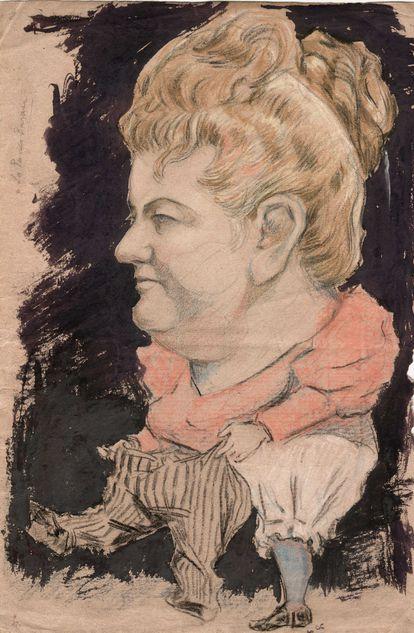 Caricatura anónima de Emilia Pardo Bazán hacia 1895.