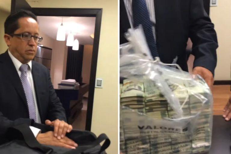 Vídeo difundido por Emilio Lozoya, en el que un supuesto funcionario de Pemex entrega dinero en efectivo a Rafael Caraveo.