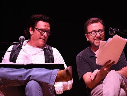 Michael Madsen (izquierda) y Tim Roth, en un momento de la lectura de 'The hateful eight'.