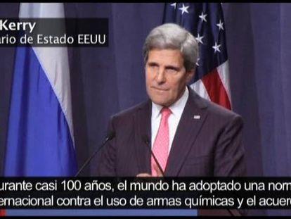 Rueda de prensa de John Kerry y Sergei Lavrov para anunciar el pacto para que Siria destruya sus armas químicas.