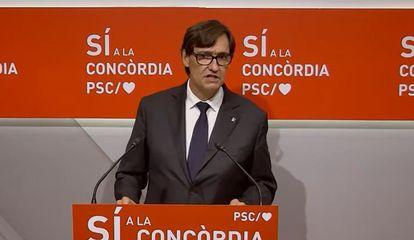 El líder del PSC en el Parlamento, Salvador Illa, en rueda de prensa este jueves.