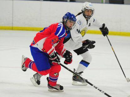 Imagen del partido disputado el 7 de septiembre en Florida, EEUU, entre Stanley , de las Islas Malvinas, y la selección sub 16 de hockey sobre hielo de Argentina.