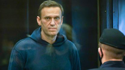 Alexéi Navalni durante la vista judicial en el Tribunal Municipal de Moscú, a primeros de febrero.