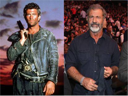 Mel Gibson en 'Mad Max' (1979); a la derecha, en un combate de boxeo en Las Vegas en 2018.