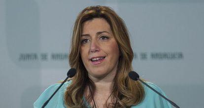 La presidenta de la Junta de Andalucía en funciones, Susana Díaz, este lunes.