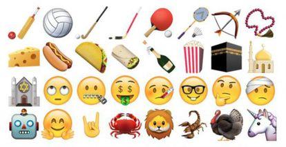 Algunos de los nuevos emoticonos para el sistema operativo de Apple.