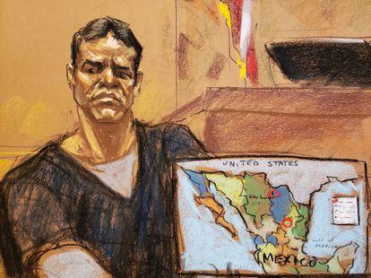 Vicente Zambada, durante el juicio del Chapo.