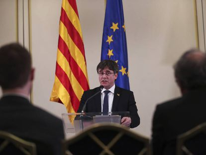Puigdemont, el pasado lunes en un acto en Bruselas.