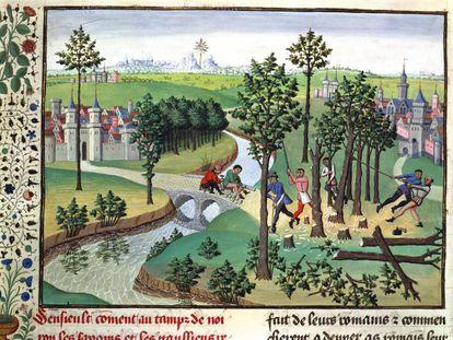 Manuscrito medieval, que muestra la construcción de un camino.