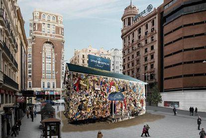 Fotomontaje de cómo se verá el hotel en la plaza de Callao desde el próximo 19 de enero.