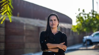 San Ysidro, CA - Erika Pinheiro, lawyer who works with asylum seekers in Tijuana, MEX, poses for a picture in front of the USA-MEXICO border in the city of San Ysidro, San Diego County, California on September 28, 2020. (Photo by Apu Gomes)