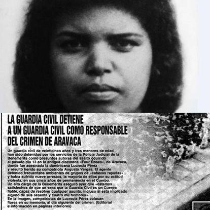 Fotografía de Lucrecia Pérez y crónica del caso de su asesinato.