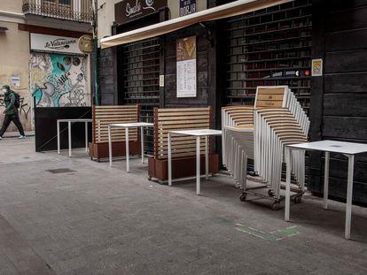 Una terraza cerrada en el centro de Valencia, este miércoles.