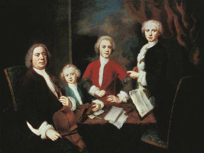Bach, con tres de sus hijos, en un retrato del pintor alemán Balthasar Denner (1685-1749).