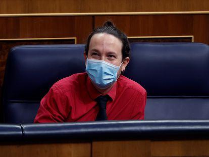 Pablo Iglesias, este miércoles durante la sesión de control al Gobierno.