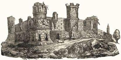Grabado del castillo de Aguilar, de 1839, realizado por el artista Manuel de la Corte y Ruano.
