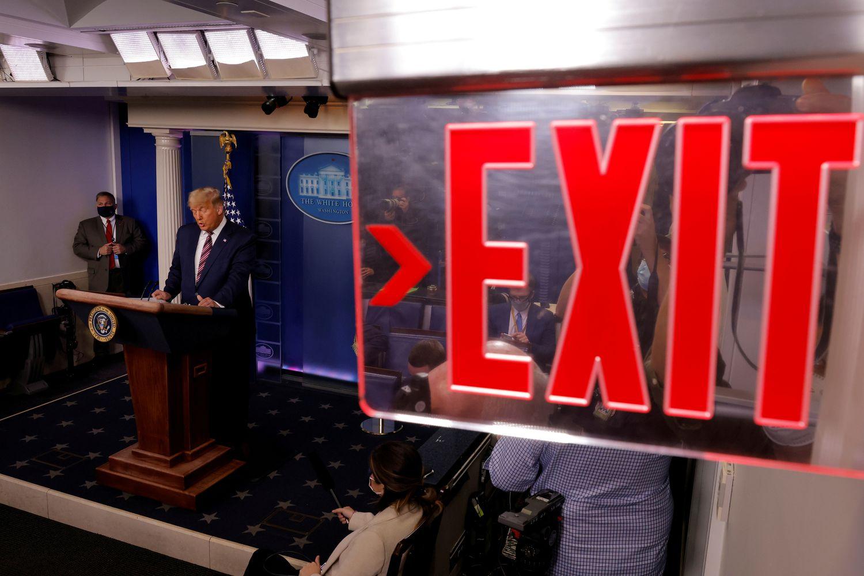 Trump, durante la rueda de prensa pronunciada el jueves.