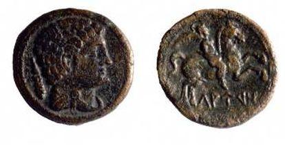 Una de las monedas acuñadas en Lauro.
