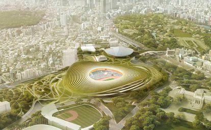 La idea de GMP Architekten para el Estadio Olímpico de Tokio 2020, otro de los proyectos que inspiraron a los arquitectos Jordi Fernández y Eduardo Gutiérrez (ON-A) para la renaturalización del coliseo barcelonés.  