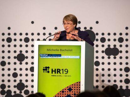 Michelle Bachelet, alta comisionada de la ONU para los Derechos Humanos, en la conferencia de reducción de daños de Oporto.