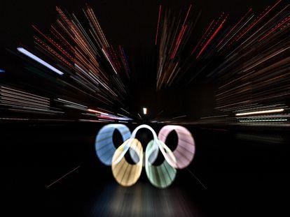 Una imagen reciente de los aros olímpicos en Tokio.